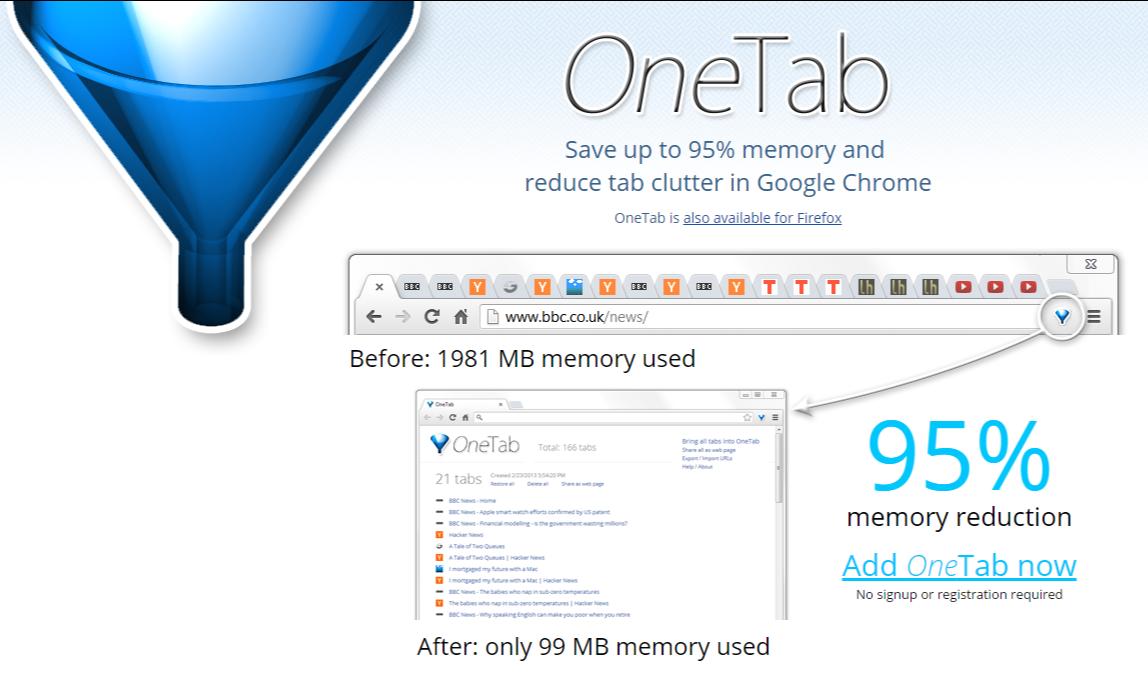 OneTab browser management save memory