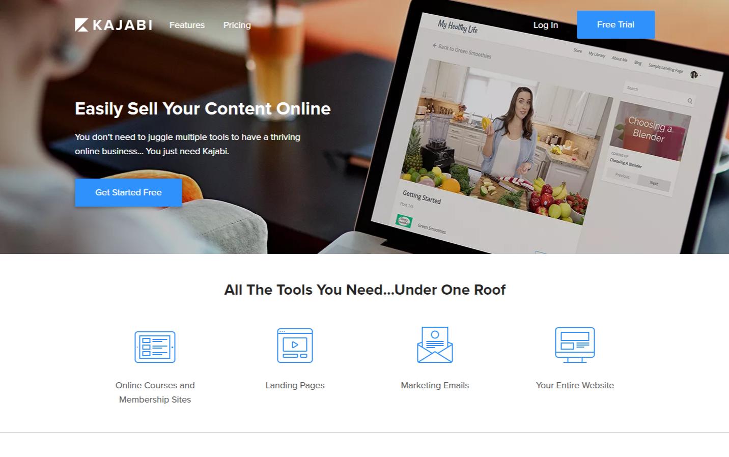 Kajabi e-commerce site builder
