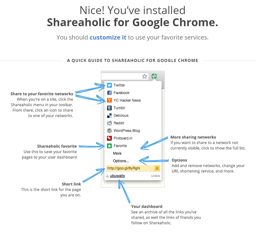 Shareaholic Chrome Extension