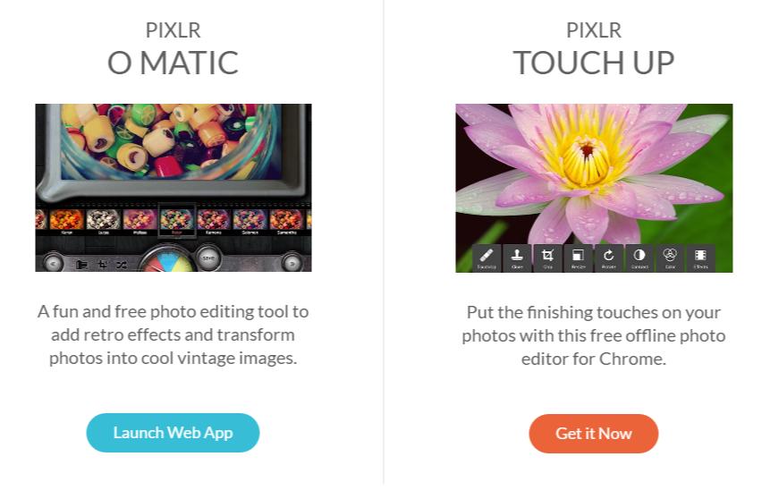 Pixlr image enhancement options