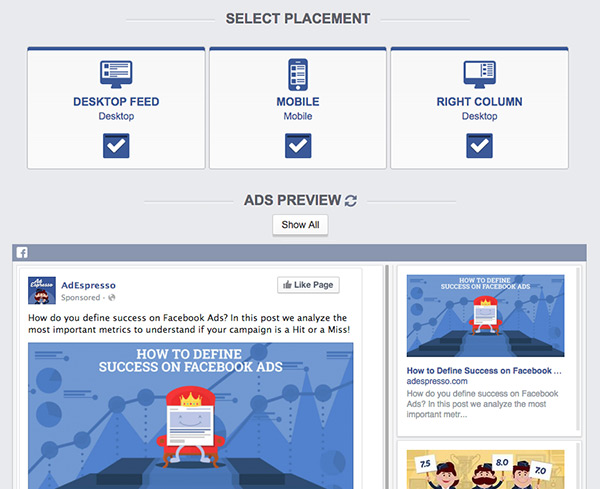 AdEspresso Facebook Ad placement tool