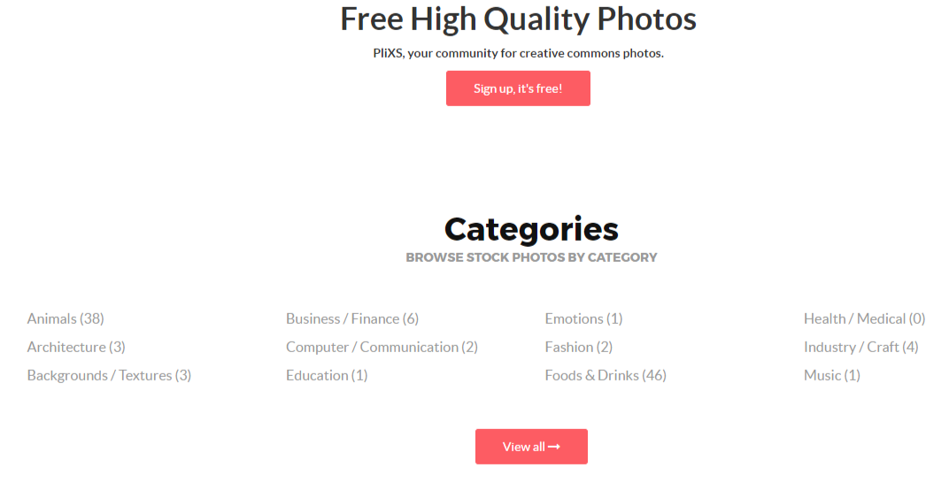 Plixs.com image categories